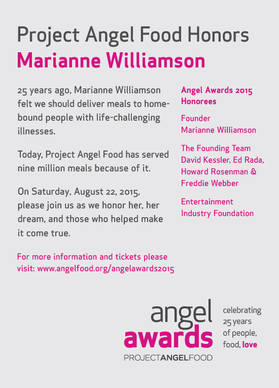 Project Angel Food Celebrates 25 Years Marianne Williamson